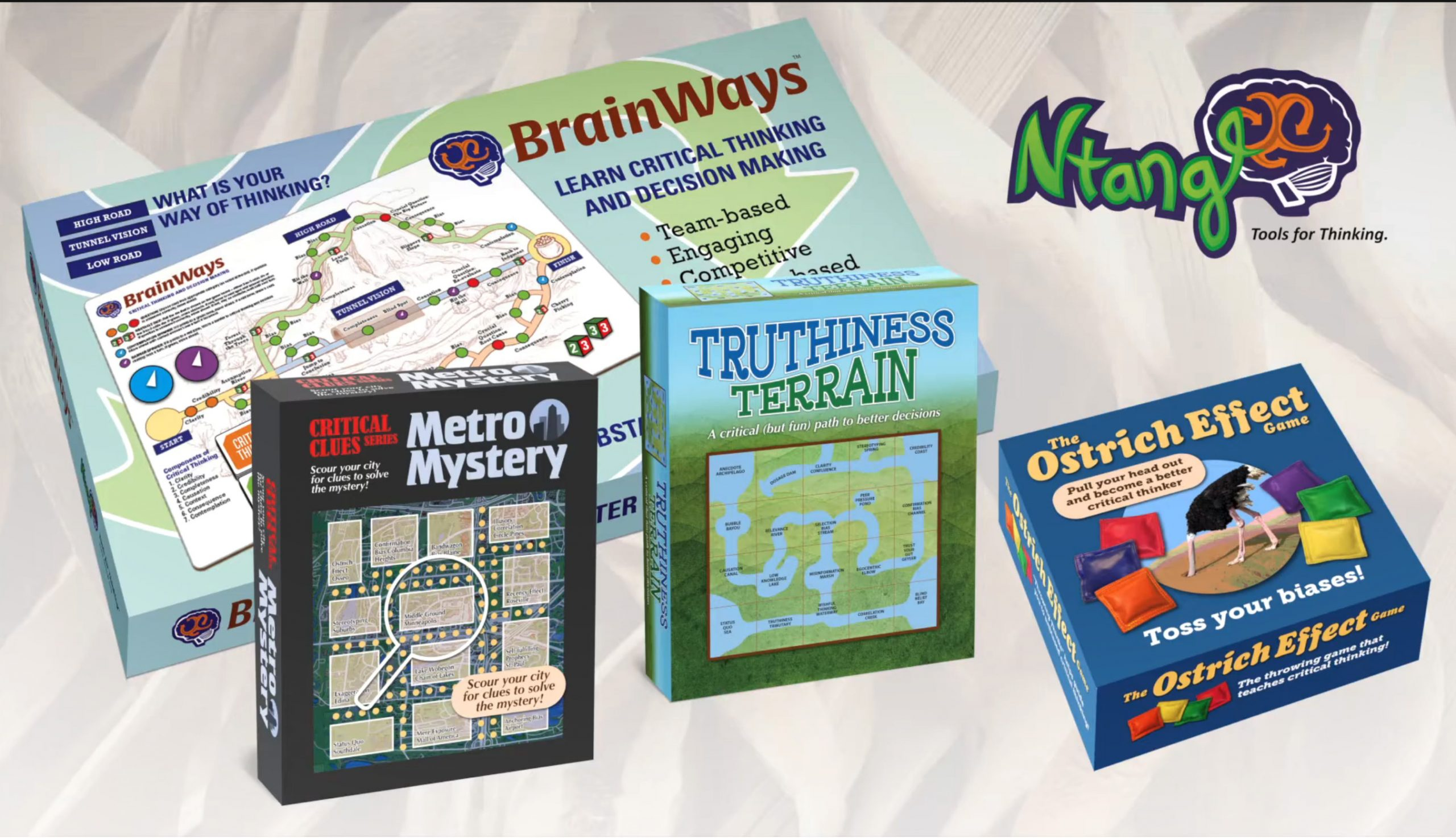 Ntangl's portfolio of fun games that teach critical thinking skills